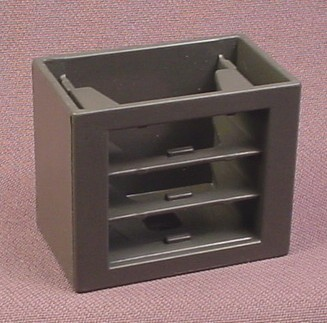 Playmobil Dark Gray Cabinet With Openings For 3 Drawers, 3159 3165 3175a 3175b 3988 4326 5718 7777