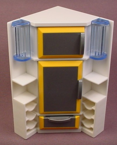 Playmobil White & Gold Corner Refrigerator with Shelving, 3968, Furniture, Small Silver