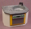 Playmobil Modern Silver Gray Sink With A Dishwasher In A White Cabinet, The Dishwasher Door Opens