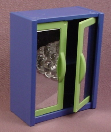 Playmobil Blue & Neon Green Cupboard With Mirrors In The Doors, 3967, Has A Shelf Inside