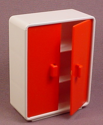 Playmobil White Bureau Cupboard with Red Doors that Open, 3290, Furniture, 2 Shelves Inside