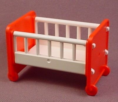 Playmobil Red & White Baby Crib, 3290, Furniture, 2 1/4 Inches Long