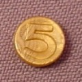 Playmobil Gold Number 5 Coin, 3029 3037 3127 3133 3174 3285 3619 3900 3938 3939 4067 4139 4153 4157