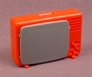 Playmobil Red & Gray TV Television, 3460 3495 3728 3771, Klicky Figure  Accessory
