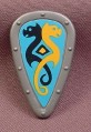 Playmobil Silver Gray Teardrop Shaped Shield With A Yellow & Black Design, 3152 4433 5712, Grey