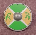 Playmobil Silver Gray Round Shield with Green & Gold Design, 3151 4433, Grey