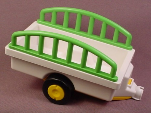 Playmobil 123 White Trailer With Green Rails & Clip On Hitch, 6743, 60 65 4690