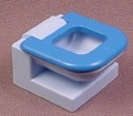 Playmobil 123 Light Blue Toilet With A Dark Blue Seat That Lifts Up, 6614 7327, Furniture