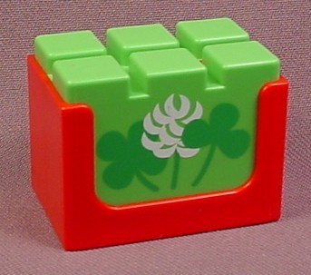 Playmobil 123 Red Crate With A Bale Of Hay With A Clover & Shamrock Pattern, 6620 6770 6754