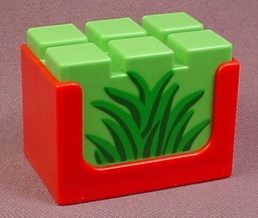 Playmobil 123 Red Crate With A Bale Of Hay With A Grass Pattern, 5047 5058 5497 6620 6743 6754