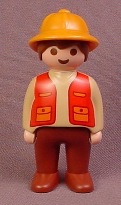Playmobil 123 Adult Male Safari Guide Zookeeper Figure With Orange Hair, Red Vest, Light Brown Shirt