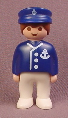 Playmobil 123 Adult Male Boat Captain Figure With A Blue Hat & Jacket With An Anchor Crest