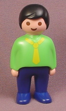 Playmobil 123 Adult Male Dad Father Figure With Black Hair & A Green Shirt With A Yellow Tie