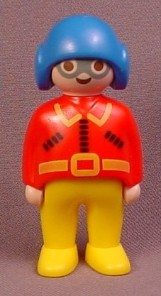 Playmobil 123 Adult Male Pilot Figure With A Blue Helmet & Red Shirt, Silver Glasses, Yellow Legs