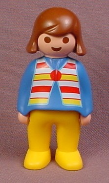 Playmobil 123 Adult Female Mom Mother Figure With Brown Hair & A Blue Shirt