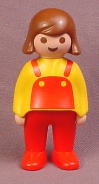 Playmobil 123 Adult Female Mom Mother Figure with Brown Hair, Yellow Sweater with Red Apron