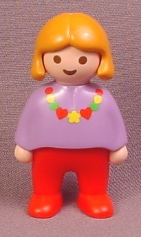 Playmobil 123 Female Girl Child Figure with Orange Hair, Purple Shirt, Necklace, Red Legs, 6748