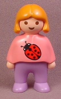Playmobil 123 Female Girl Child Figure With Orange Hair & A Pink Shirt With A Ladybug Design