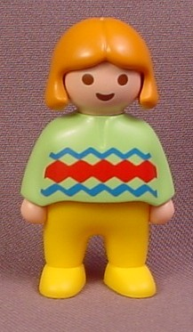 Playmobil 123 Female Girl Child Figure with Orange Hair, Green Shirt with ZigZag Design, 6620