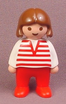 Playmobil 123 Female Girl Child Figure with Brown Hair, red & White Striped Shirt, Red Legs, 6725