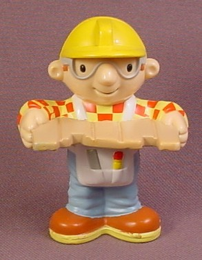 Bob The Builder With Board Figure, 3 Inches Tall, 2000 Hasbro, 2 Holes In Bottom