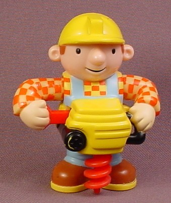 "Bob The Builder With Post Hole Auger Drill Figure, 3"" Tall, 2001 Hasbro, 1 Hole In Bottom"