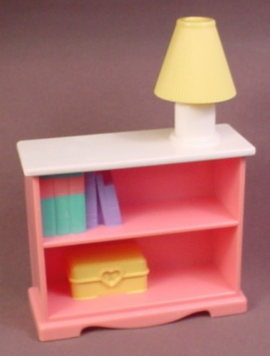 Fisher Price Dream Dollhouse 1996 Pink Bookcase With Yellow Lamp