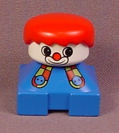 Lego Duplo 2327 Short Bust Figure with Clown Face, Red Hair, Blue Shirt with Suspenders, 1995