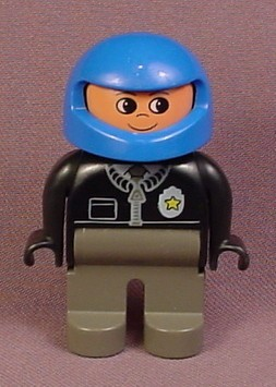 Lego Duplo 4555 Male Articulated Figure with Blue Helmet, Black Zippered Jacket Police Badge