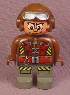 Lego Duplo 4555 Male Articulated Figure with Brown Aviator Cap & Goggles, Parachute Harness