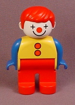 Lego Duplo 4555 Clown Articulated Figure with Red Nose & Hair, White Face Paint, Blue Arms