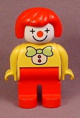 Lego Duplo 4555 Clown Articulated Figure with Red Hair, Light Green Bowtie, White Clown Face