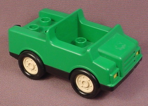 Lego Duplo 2218 Green Car Vehicle Jeep with Black Undercarriage & Hitch