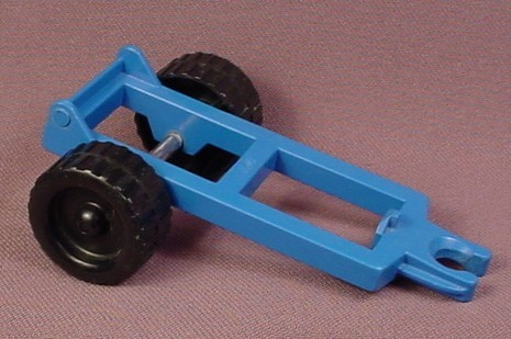 Lego Duplo 4820 Blue 2x6 Vehicle Trailer Frame with Black Wheels, 1985, Tractor