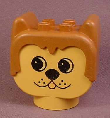 Lego Duplo 2303 Yellow 2x4x3 Dog Figure Head with Light Brown Ears, Toungue & Muzzle