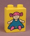 Lego Duplo 4066 Yellow 1x2x2 Brick Printed with a Doll with Pink Hair & Blue Dress Pattern