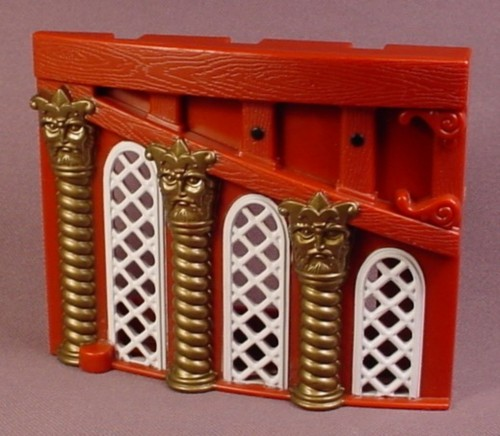 Fisher Price Imaginext Left Side Brown Ship Cabin Wall with White Windows & Gold Pillars, B1472