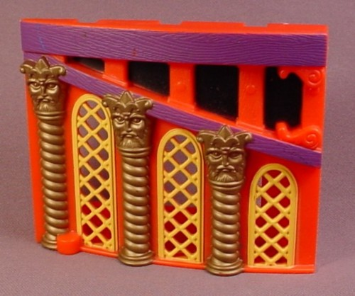 Fisher Price Imaginext Left Side Red Ship Cabin Wall with Yellow Windows, Gold Pillars, B1472