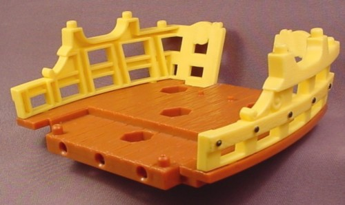 Fisher Price Imaginext Brown Wood Stern Deck with Brown Extendable Plank & Yellow Railings