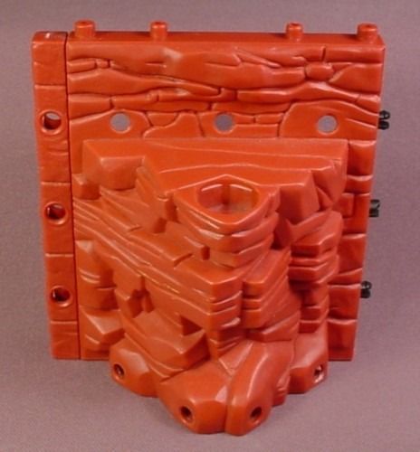 Fisher Price Imaginext Dark Red Stone Wall with Hex Mount Hole in The Top, H5341