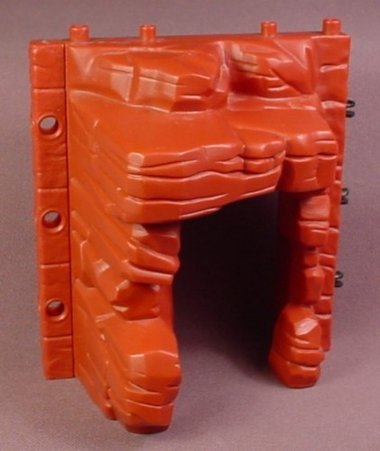 Fisher Price Imaginext Dark Red Stone Wall with a Cave Entrance, H5341 T-Rex Mountain, 2005