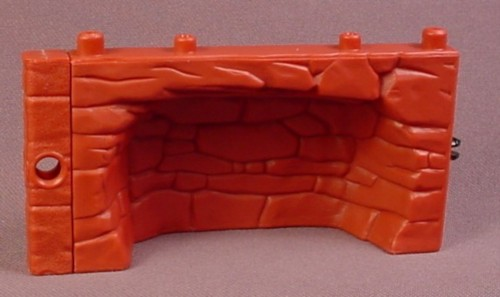 Fisher Price Imaginext Dark Red Half Height Stone Wall or Floor with Concave Center
