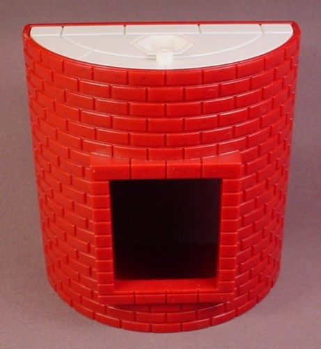 Fisher Price Imaginext Dark Red Brick Semi Circle Wall with Window Opening & White Roof