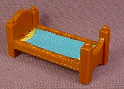 Fisher Price Imaginext Brown Single Bed with Blue Blanket, 78333 Battle Castle, 2003