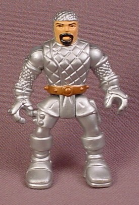Fisher Price Imaginext Knight Figure with Black Beard, Silver Armor, Gold Belt, H2383