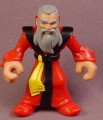 Fisher Price Imaginext Wizard Magician Figure Gray Hair & Beard, Red & Black Robes J8938
