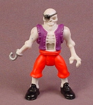 Fisher Price Imaginext Skeleton Pirate Figure with Eye Patch, Hook Hand, Red Pants Purple Vest