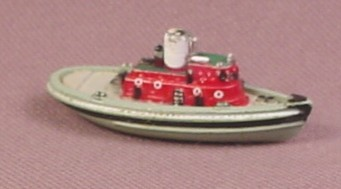 Micro Machines 1987 Tug Boat, Gray with Red Wheel House, Tugboat, Galoob