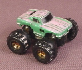 Micro Machines 1987 Chevrolet 1964 Corvette Monster Truck Green With Pink Stripes Galoob Rons Rescued Treasures