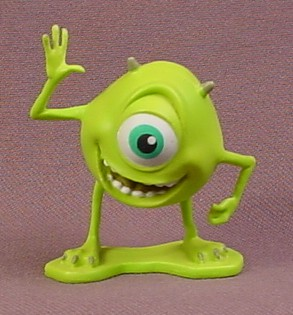 Disney Monsters Inc Mike Mazowski with One Hand Waving PVC Figure, 2 Inches Tall, Figurine